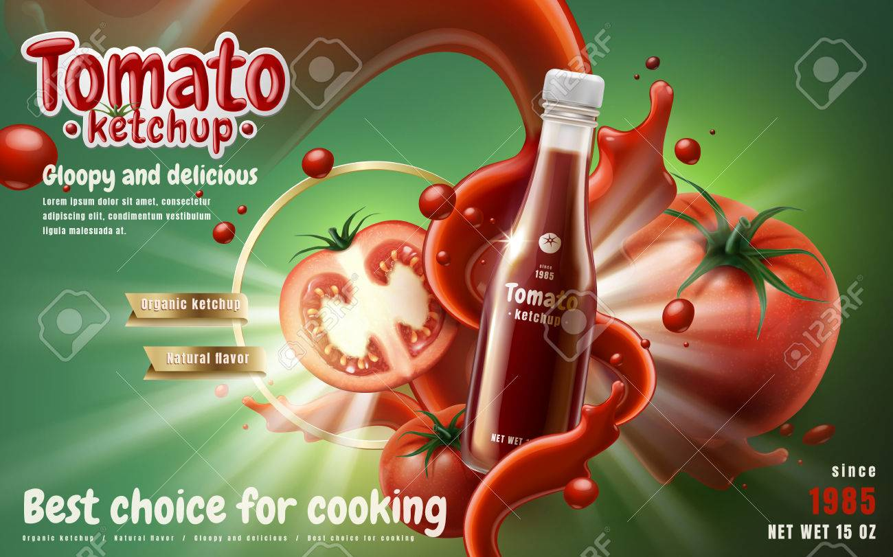 Tomato ketchup ad with tomato sauce flow effect, green background 3d illustration - 82758818