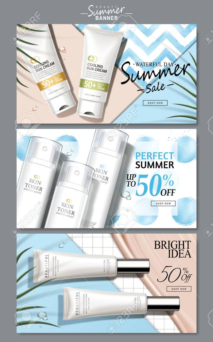 cream and light blue colored cosmetic theme web banners with product pictures, 3d illustration - 82761427