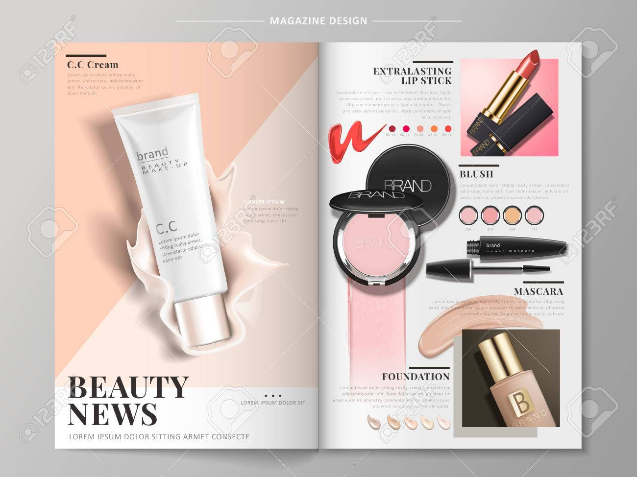 cosmetic brochure with products like mascara, foundation case and lipstick, 3d illustration - 82761436