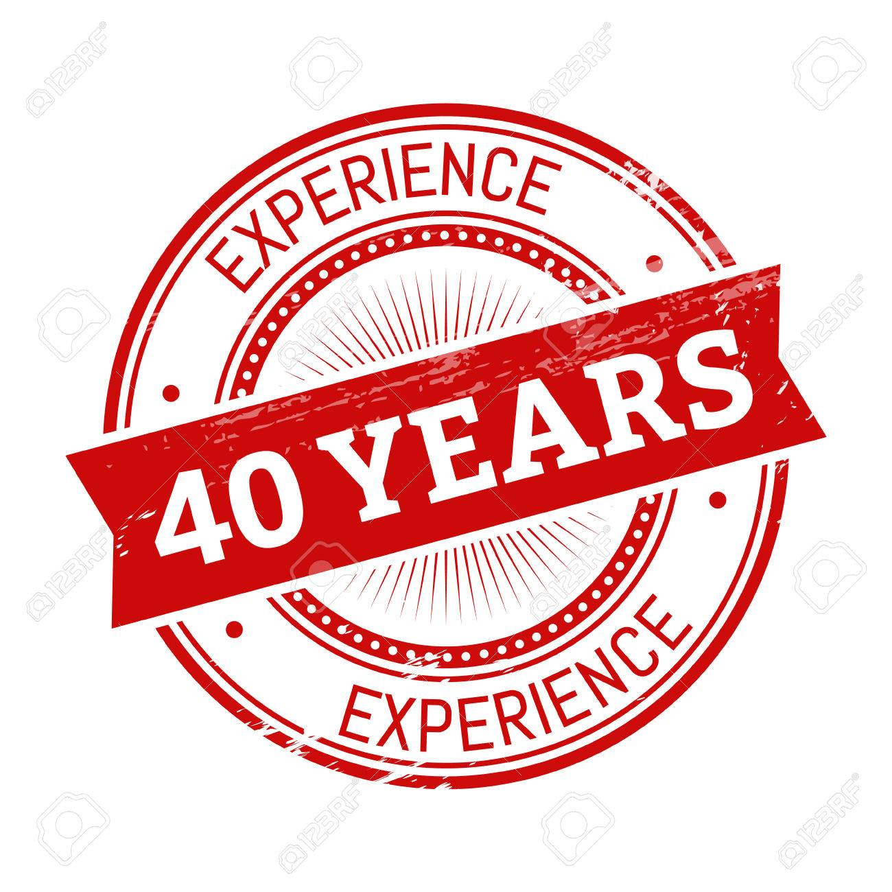 40 years experience text, red color round stamper illustration - 82943693
