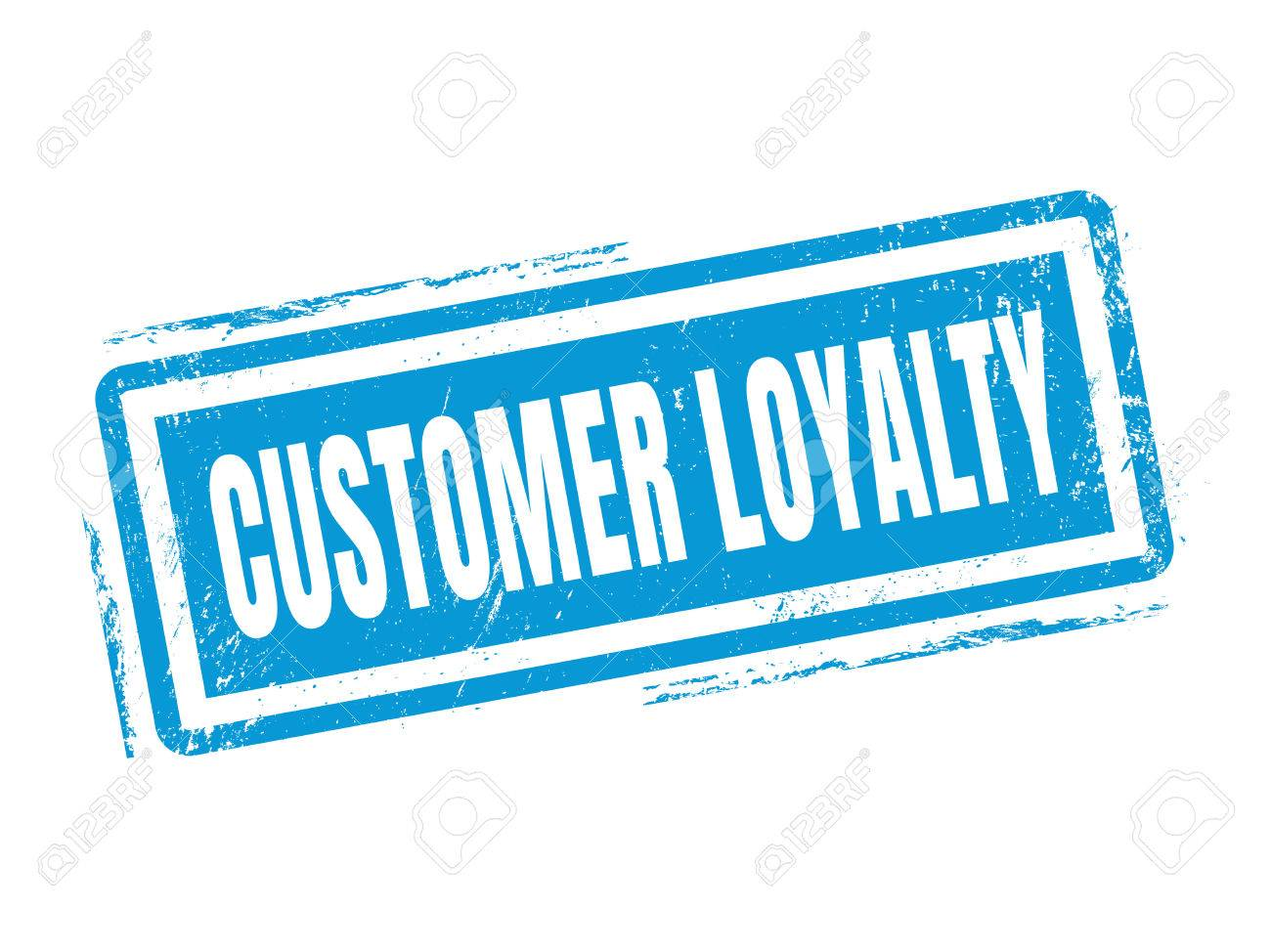 Customer Loyalty In Blue Stamp Style Stamped On White Background Stock Vector