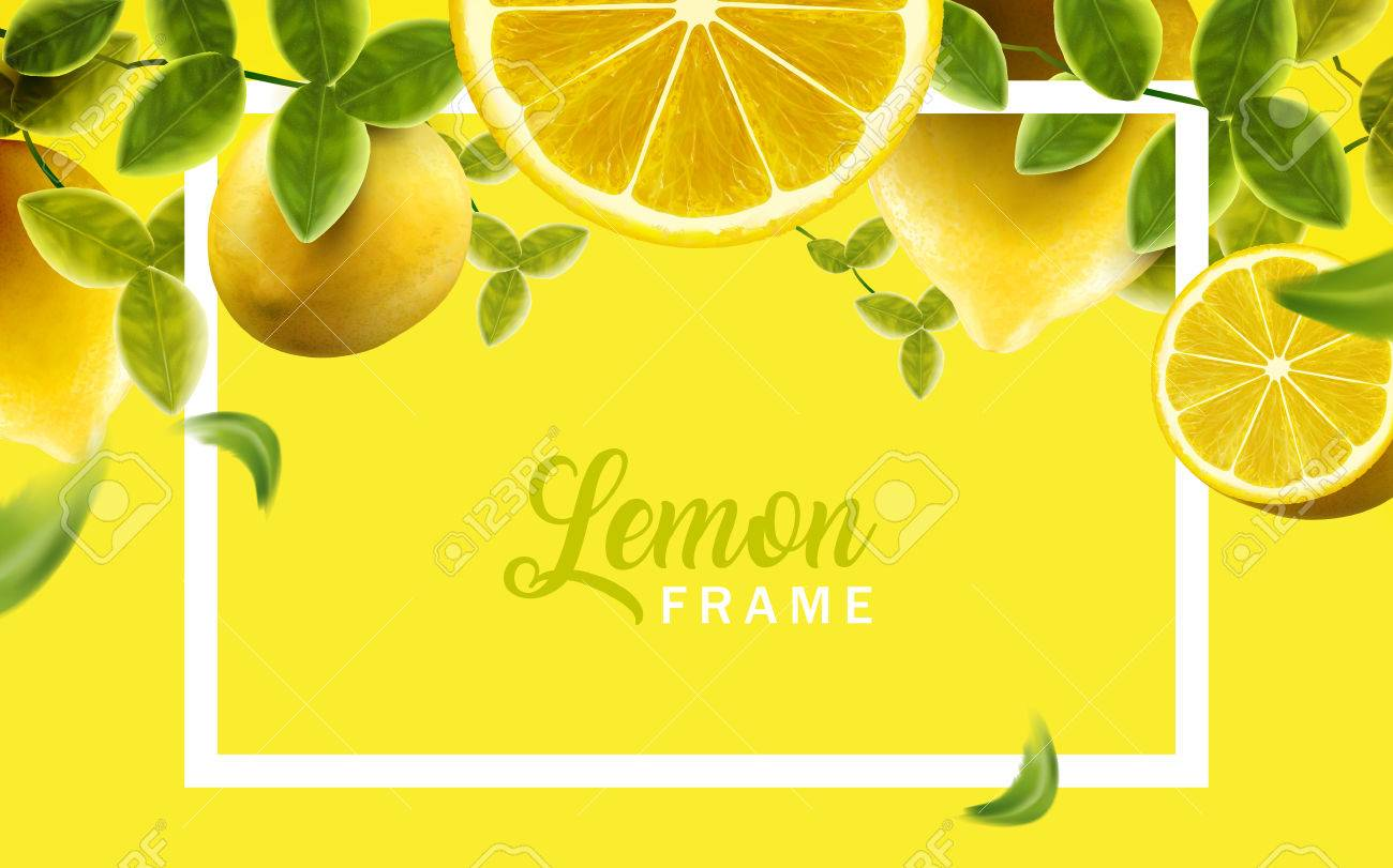 Lemon and green leaves frame, natural and fresh fruit background in yellow color, 3d illustration - 83363692