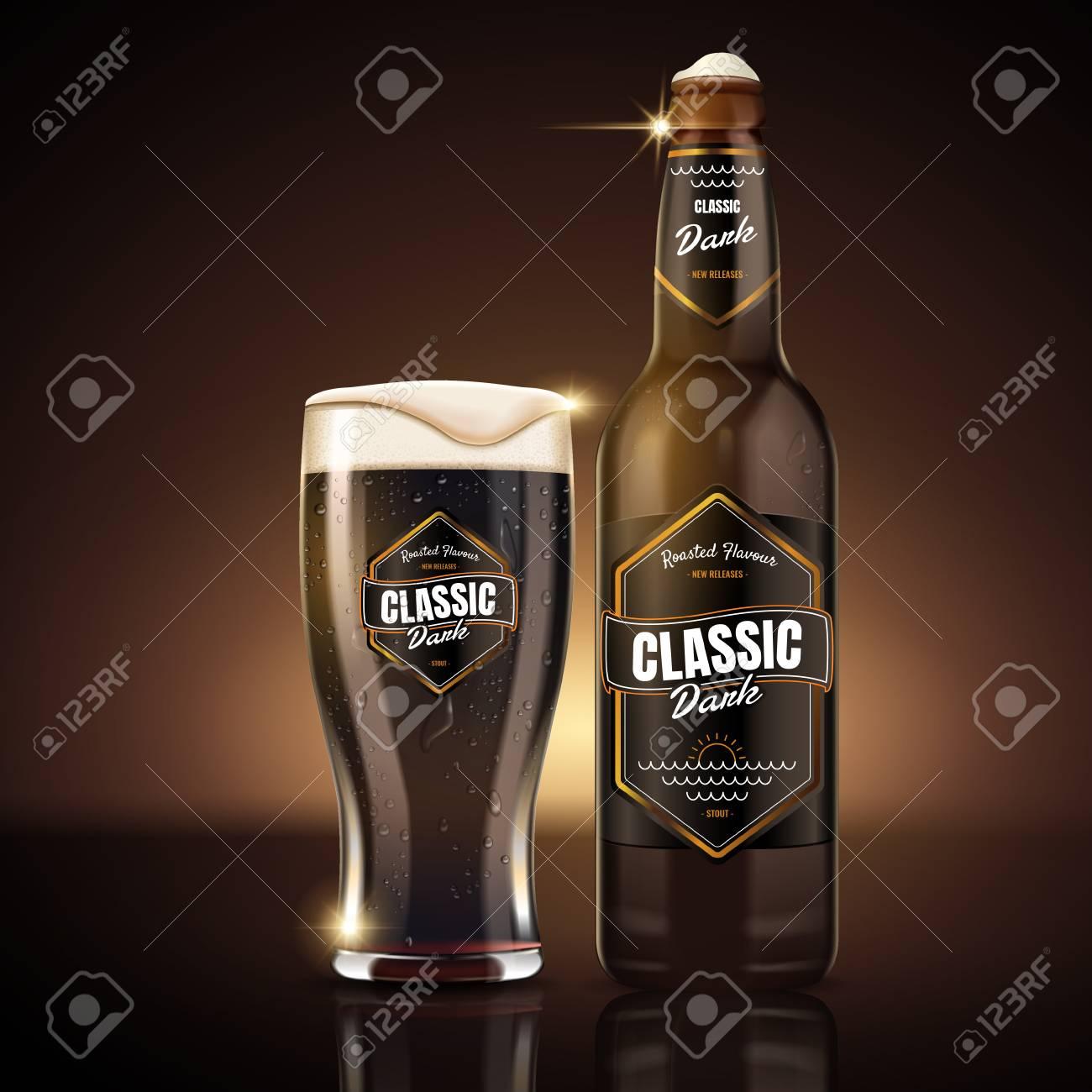 Classic dark beer package design, attractive classic dark beer in glass bottle with label design, 3d illustration - 83369314