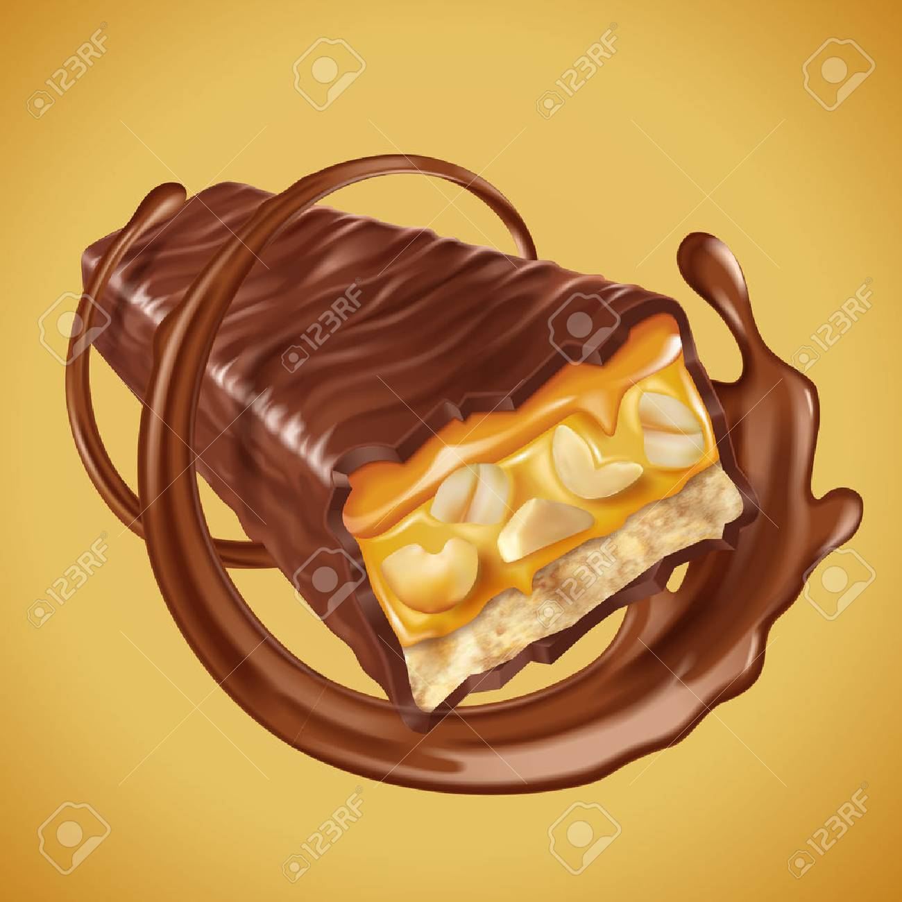 Chocolate bar element, sweet chocolate bar with nuts and caramel fillings, chocolate sauce swirling in 3d illustration - 83363888