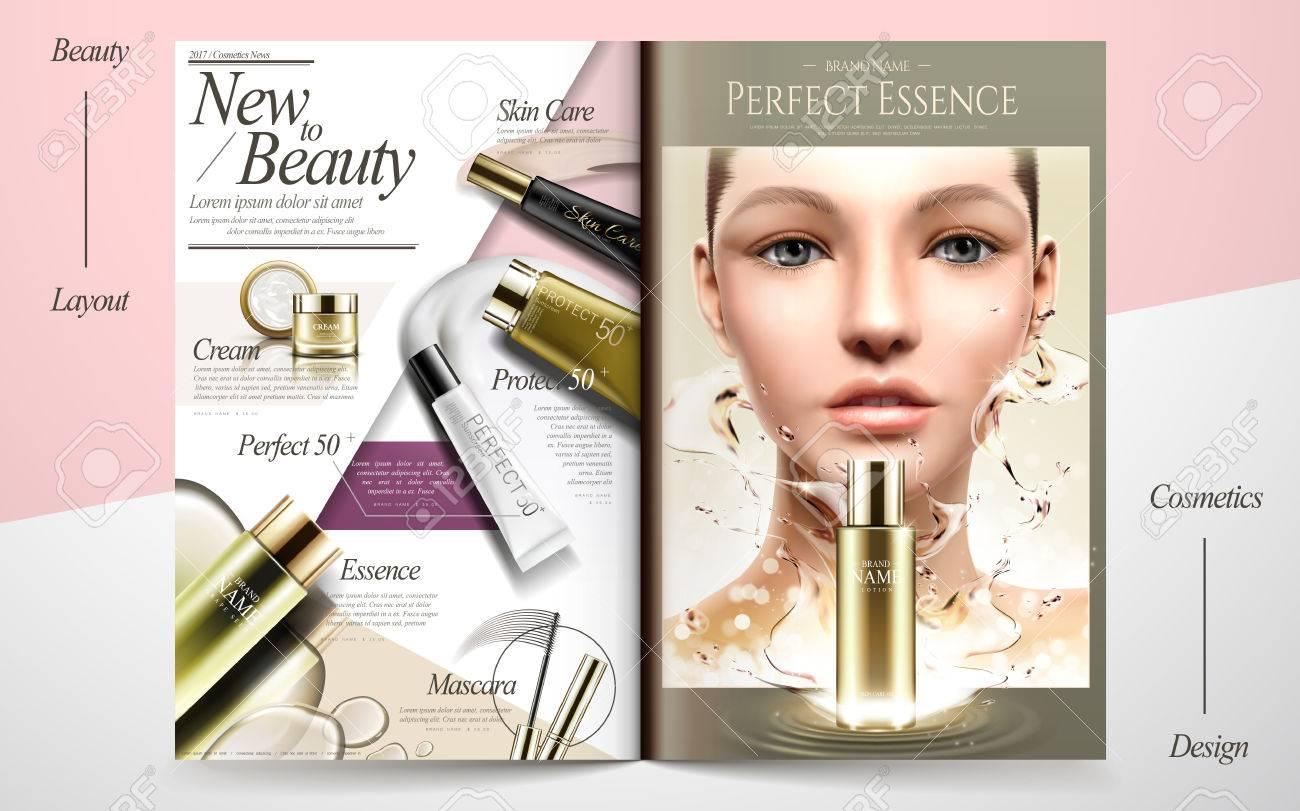 Elegant skin care brochure design, beauty fashion magazine or