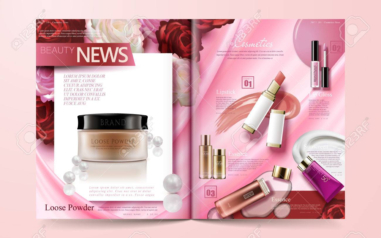 Fashion magazine template, hot sale makeup products isolated on floral pink background in 3d illustration - 88118046