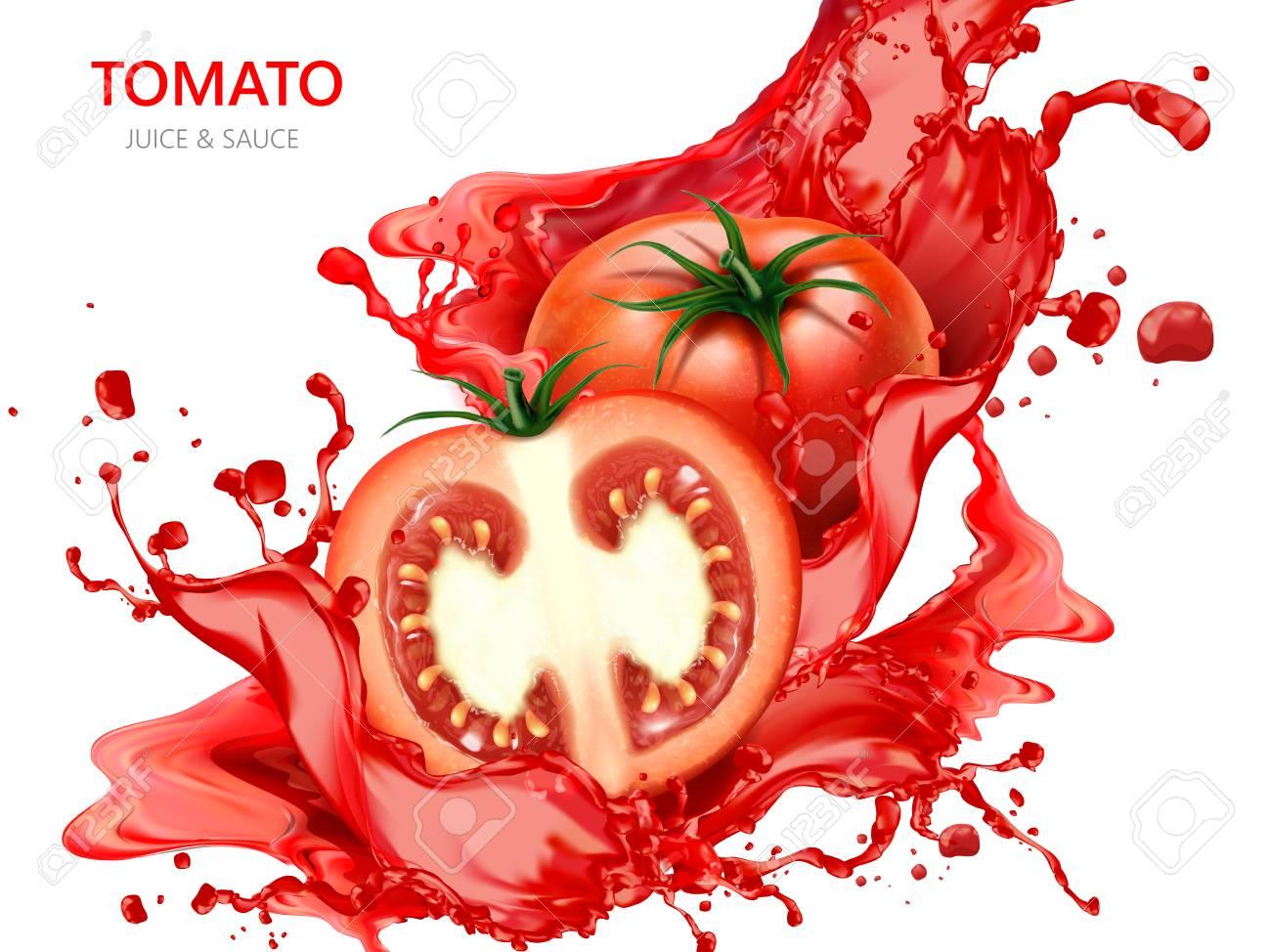 Fresh tomato with juice illustration - 88883097