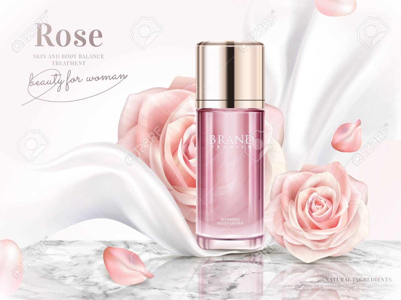 Rose toner ads, elegant cosmetic advertising with roses petals and pearl white chiffon in 3d illustration - 89702164