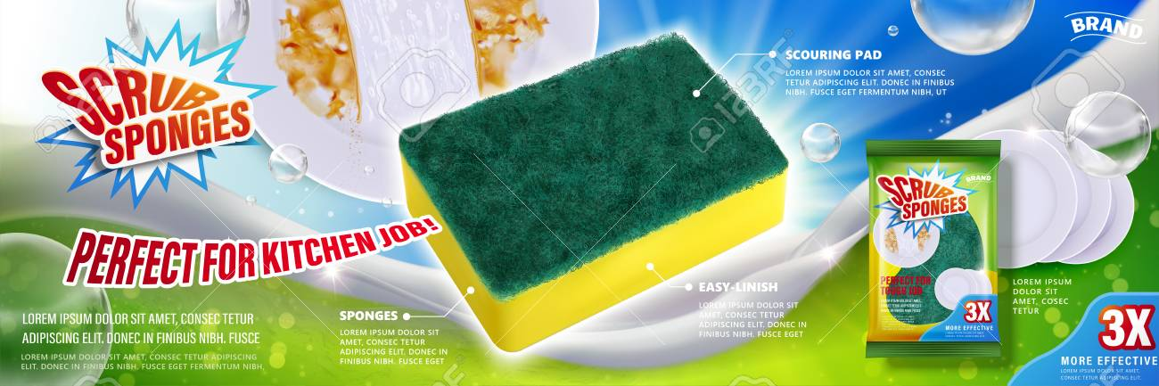 Scrub sponges ads poster design - 96683677