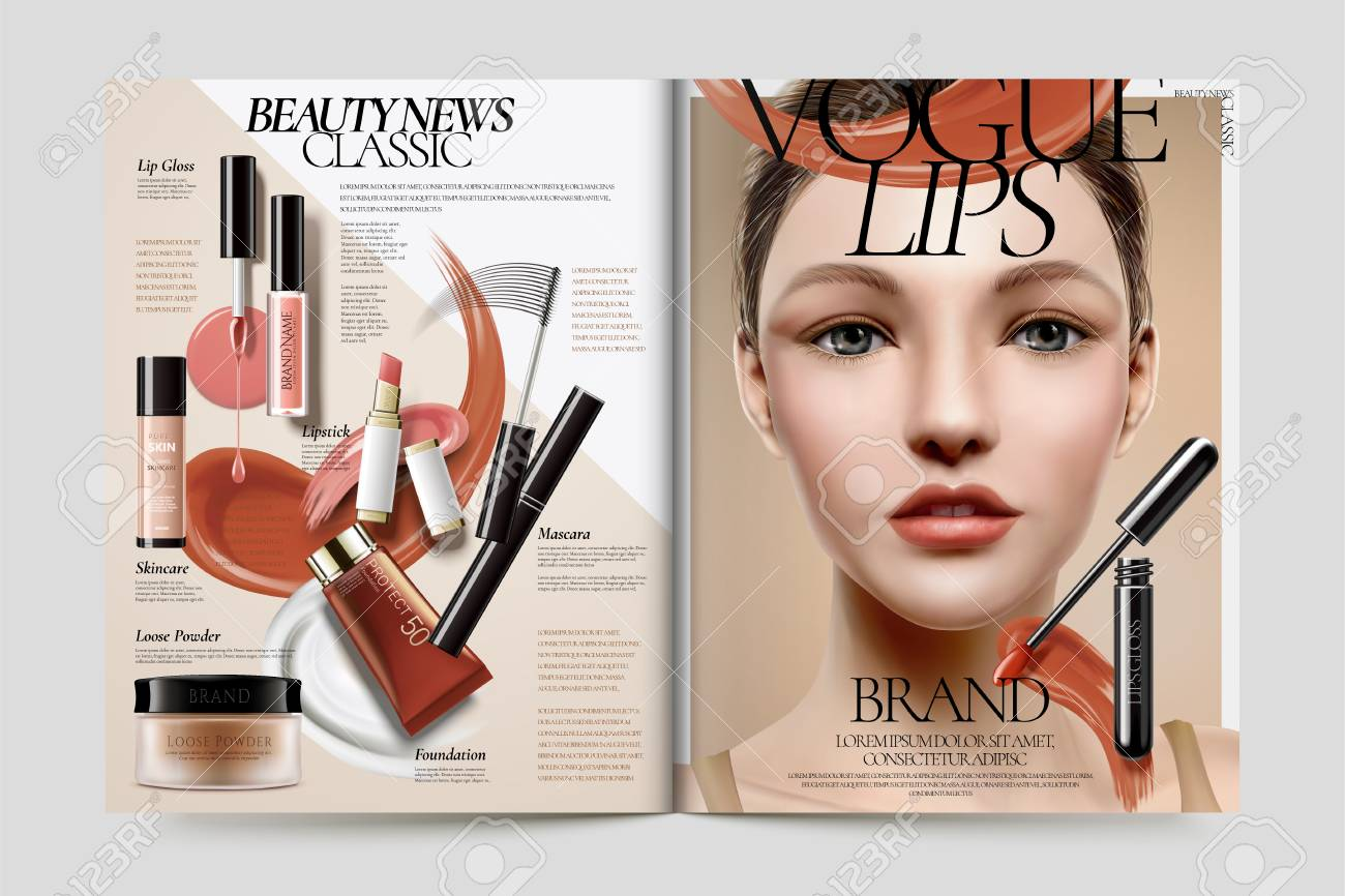 Cosmetic magazine ads, beautiful model with makeup accessories..