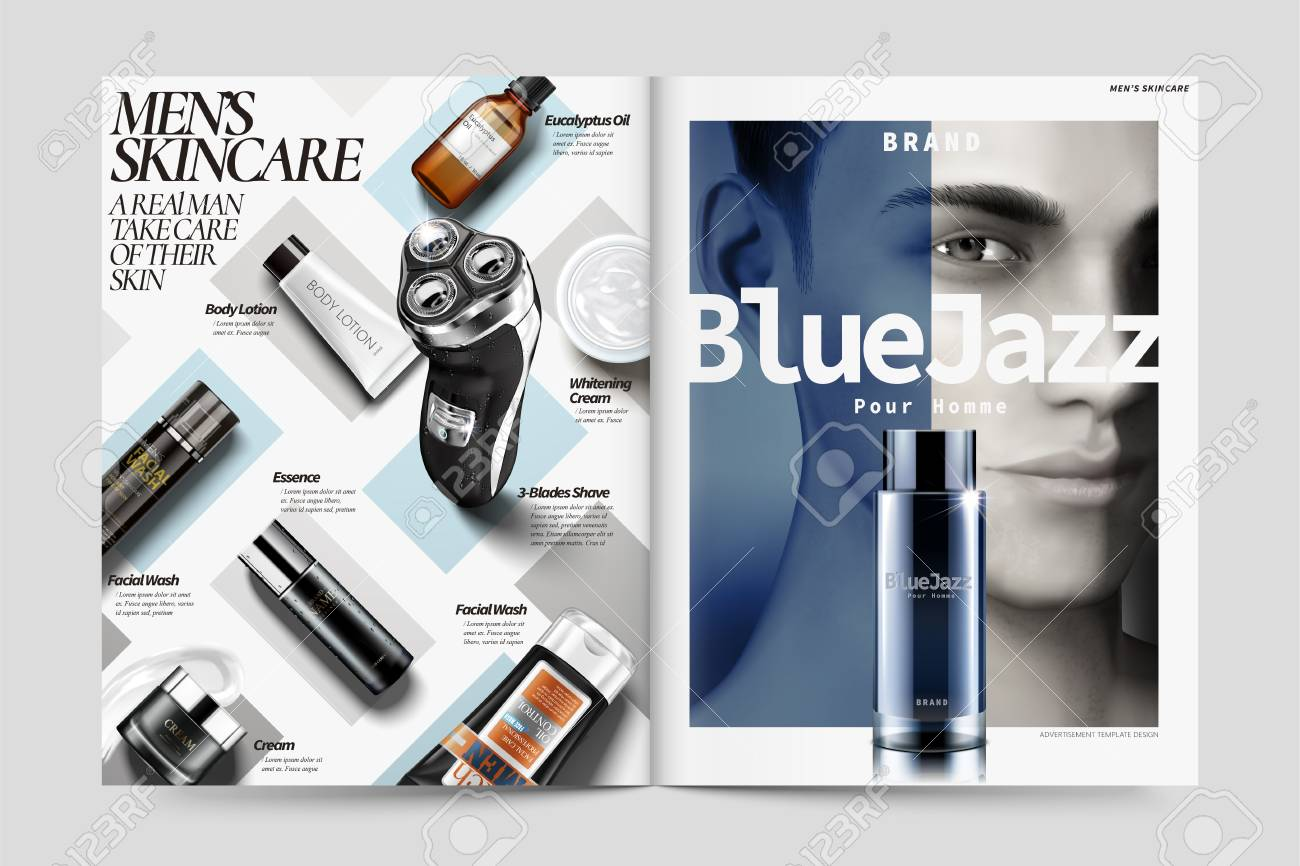 Cosmetic magazine ads, skin care products for men in 3d illustration,