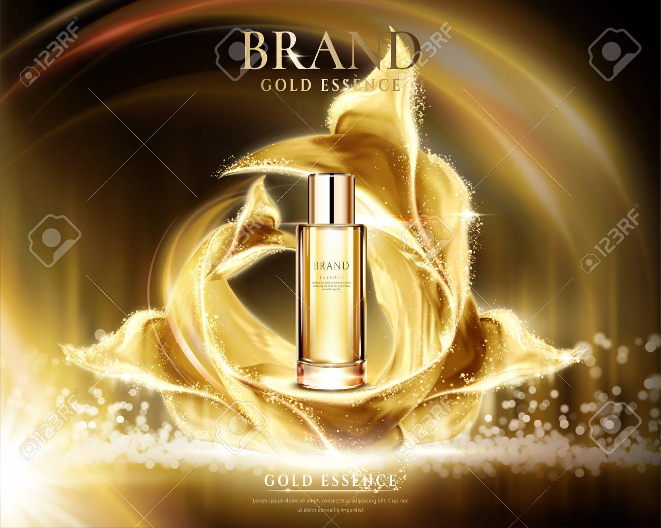 Golden essence ads, glass container with glittering satin on abstract lighting background in 3d illustration - 99345711