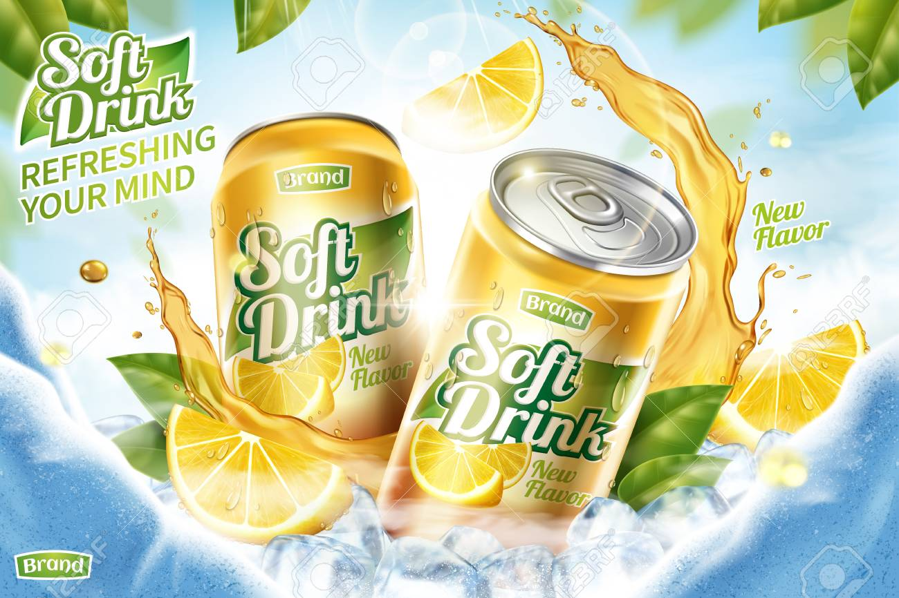 Cool soft drink ad with ice cubes and splashing juice in 3d illustration, green leaves and ice cave background - 103874078