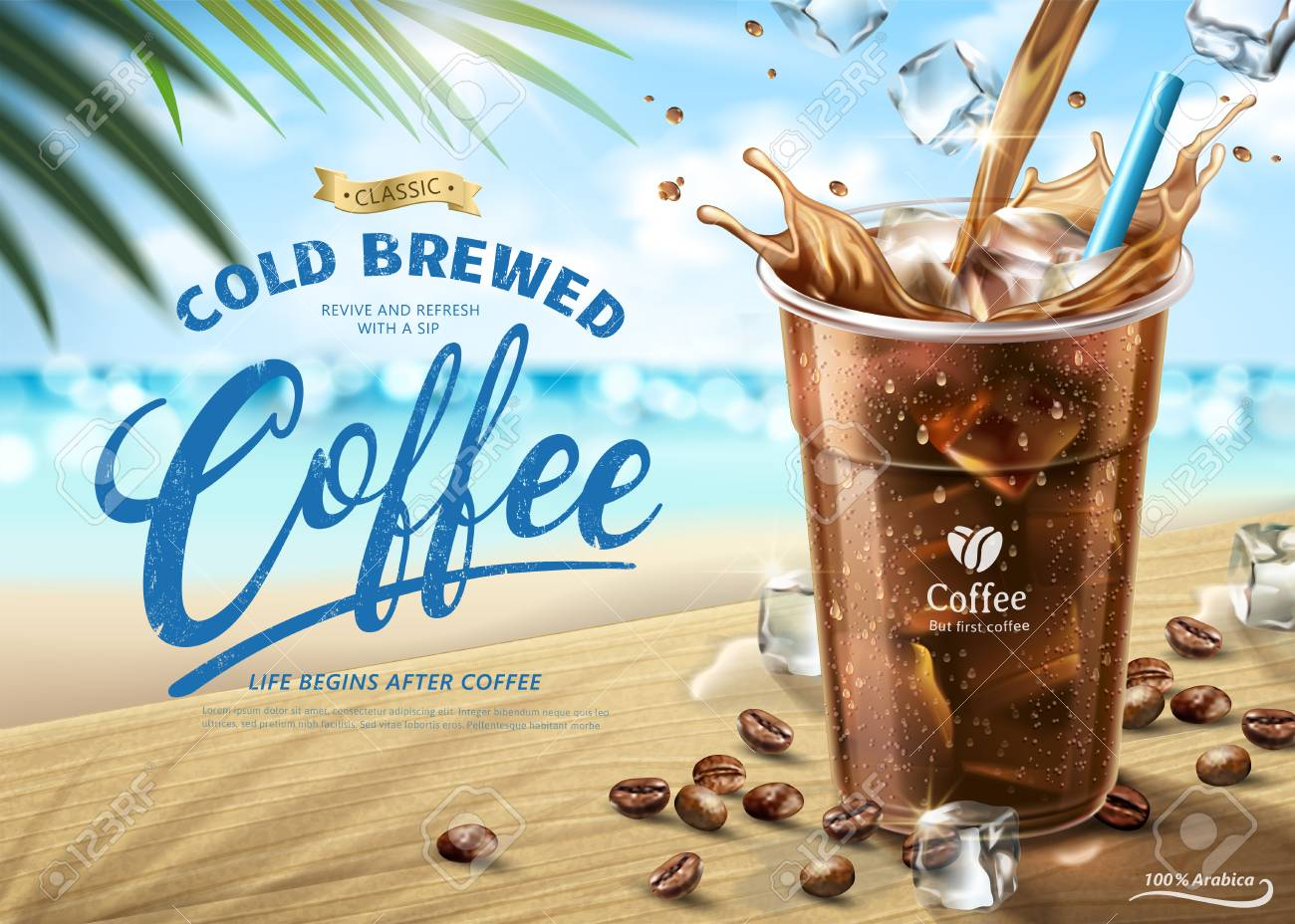 Cold brewed coffee ads on hot summer beach scene in 3d illustration - 102958625