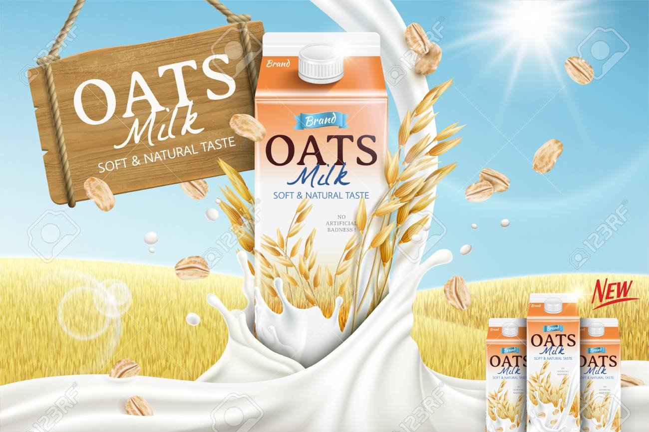 Oats milk ads with carton container and mellow milk pouring down in 3d illustration, golden grain field background - 112376059