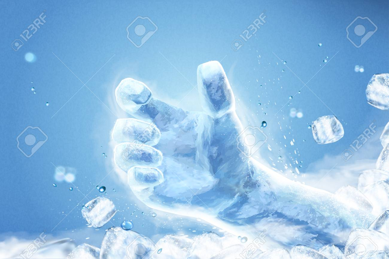 Ice grabbing hand with flying ice cubes on blue background in 3d illustration - 113933231