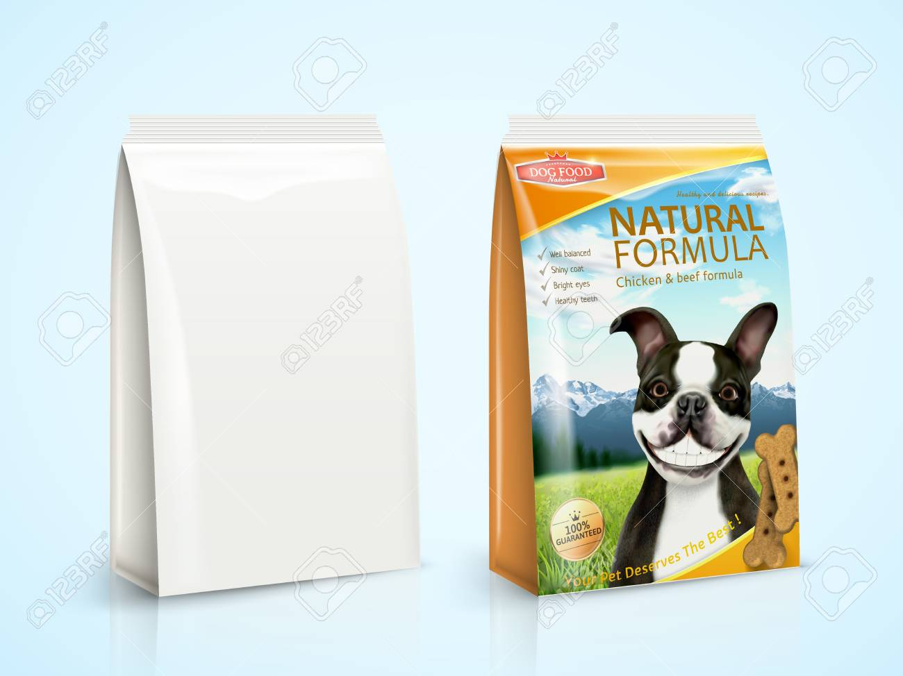 Dog Food Package Design With Boston Terrier In 3d Illustration