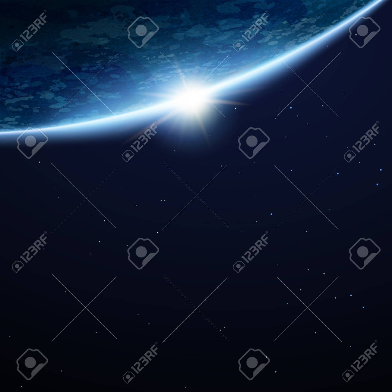 Beautiful space earth background with copy space and stars in 3d illustration - 109791289