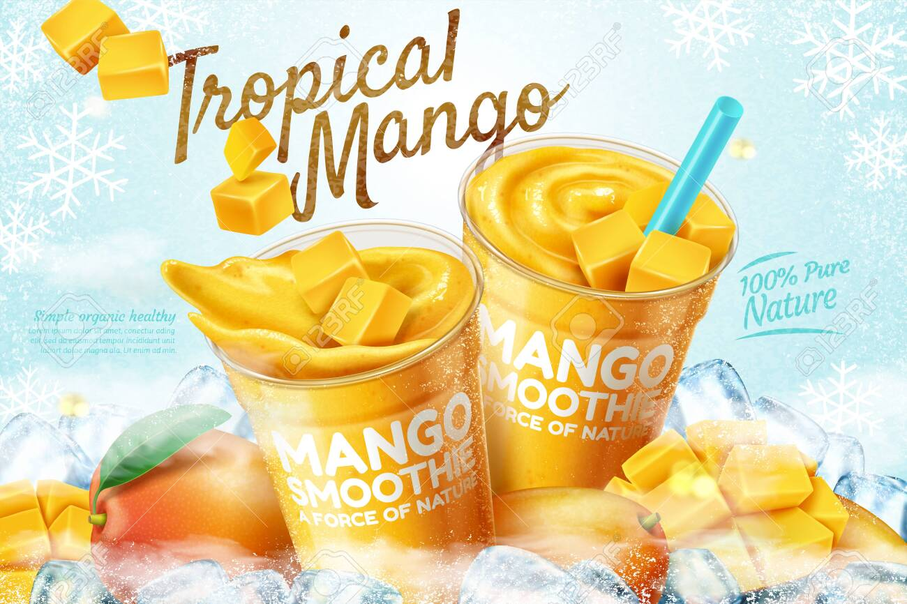 Mango frozen smoothie ads with fresh fruit and ice cubes in 3d illustration - 124681169
