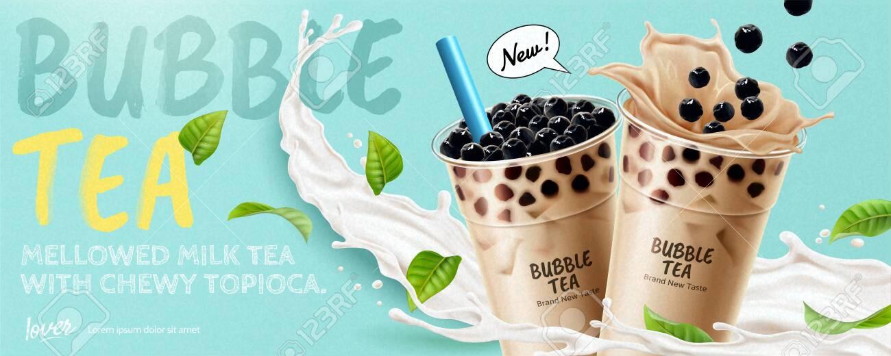 Bubble tea banner ads with splashing milk and green leaves, 3d illustration - 131068808