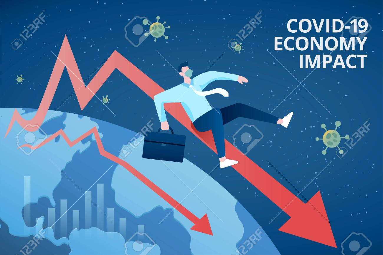 Concept of COVID-19 global economy impact, with a businessman dramatically sliding down along a declining market chart - 146764349