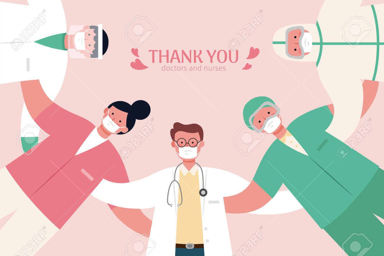 Medical workers making a huddle looking down. Thank you doctors and nurses banner in flat design illustration - 167616631