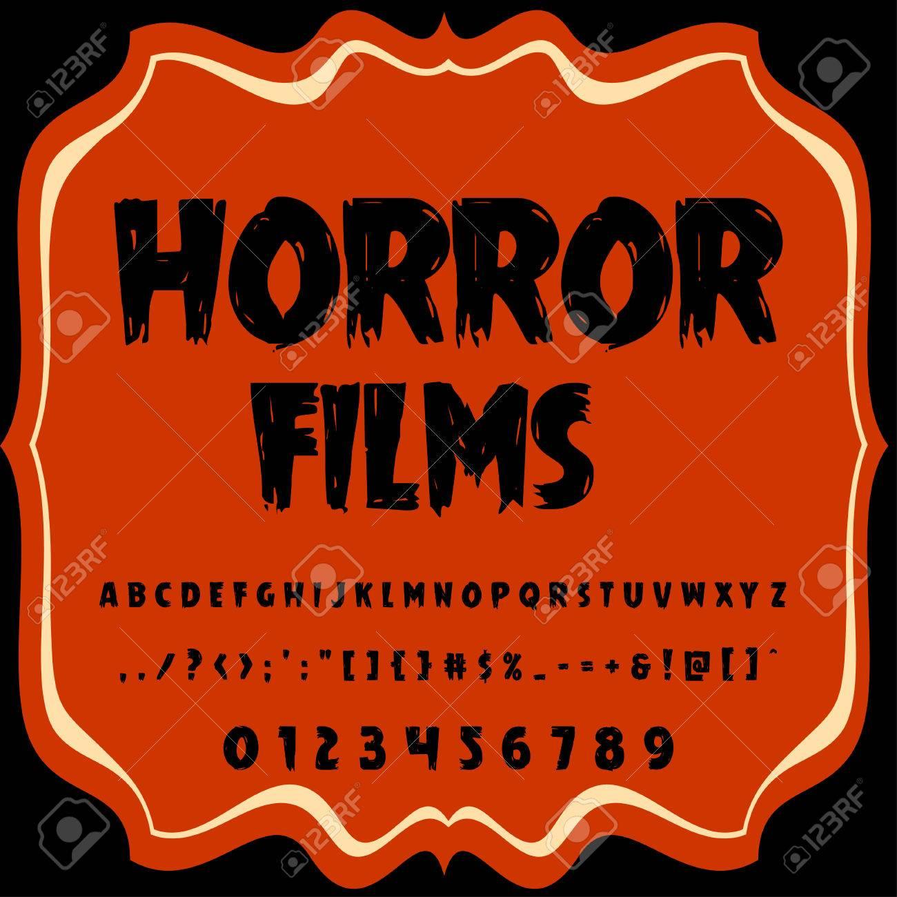 Script Font Typeface horror films vintage script font Vector