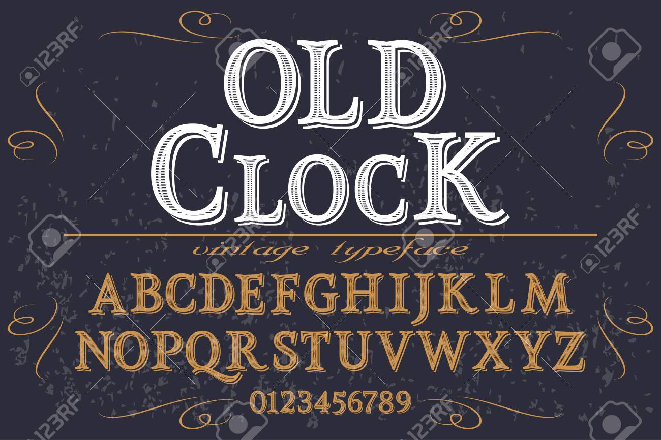 Font script typeface handcrafted vector old clock
