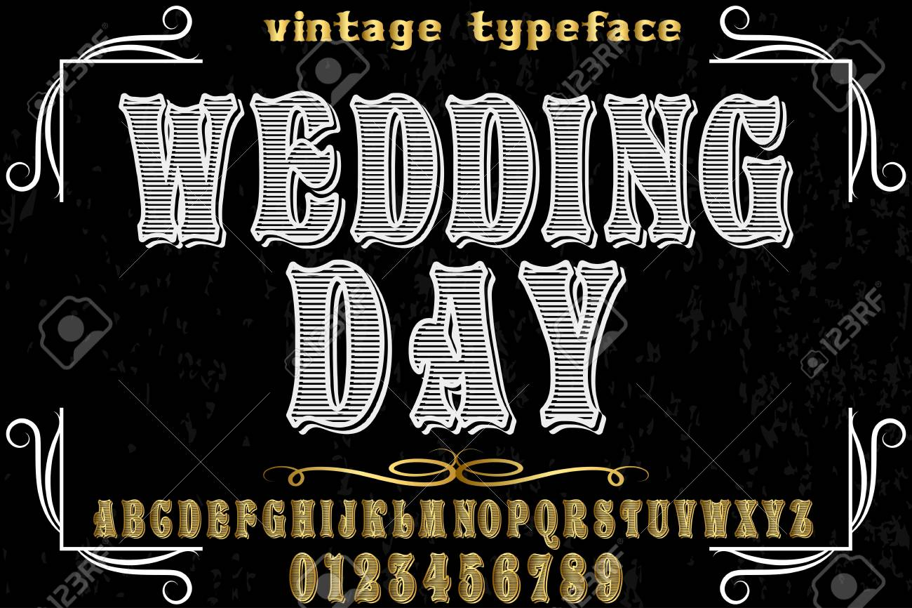vintage font alphabet old style vector named wedding day