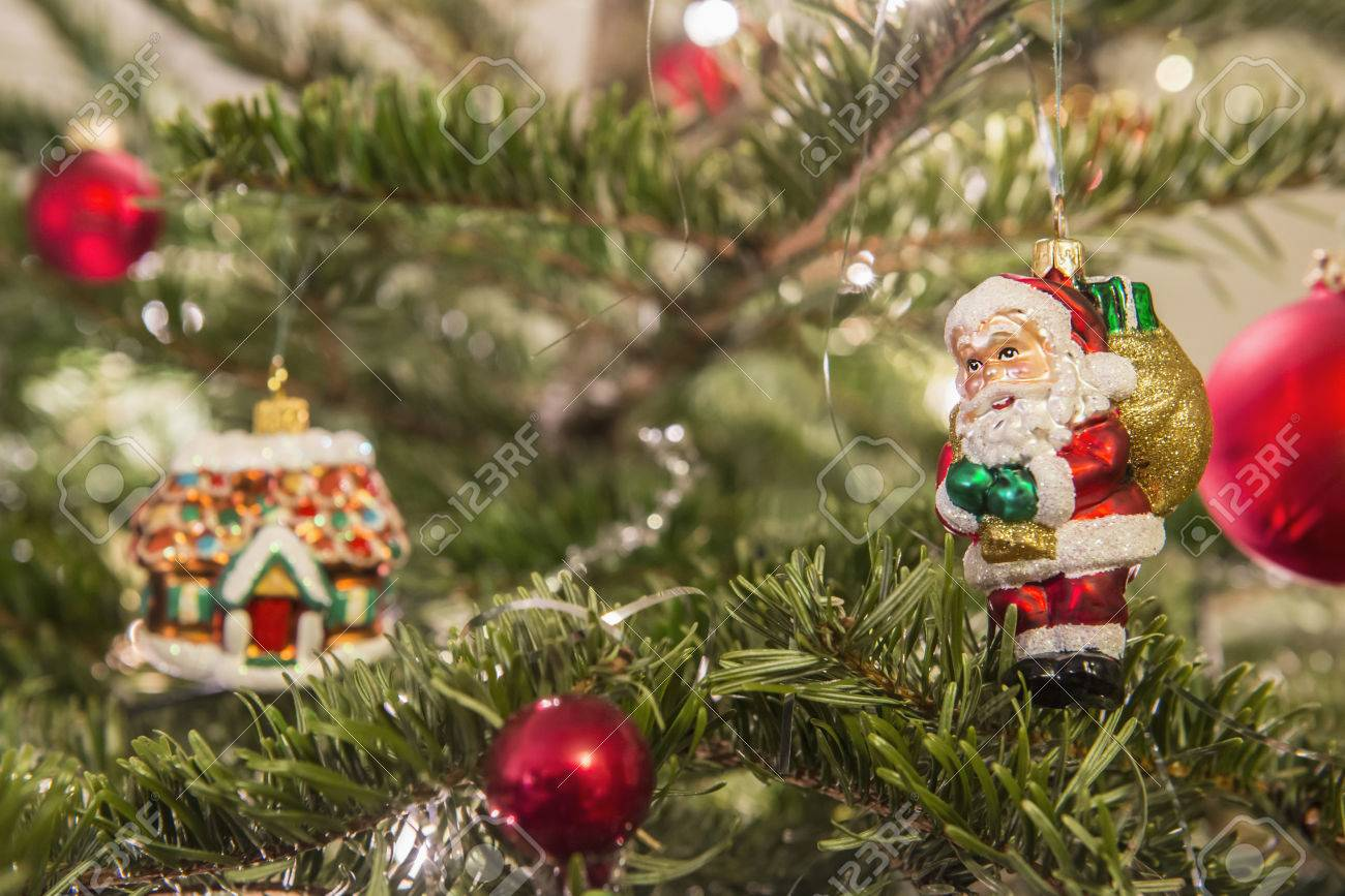 Christmas Ornaments Hanging On Christmas Tree Bavaria Germany