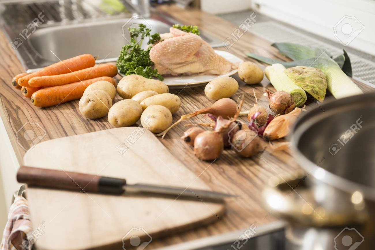Close up of raw food on kitchen counter
