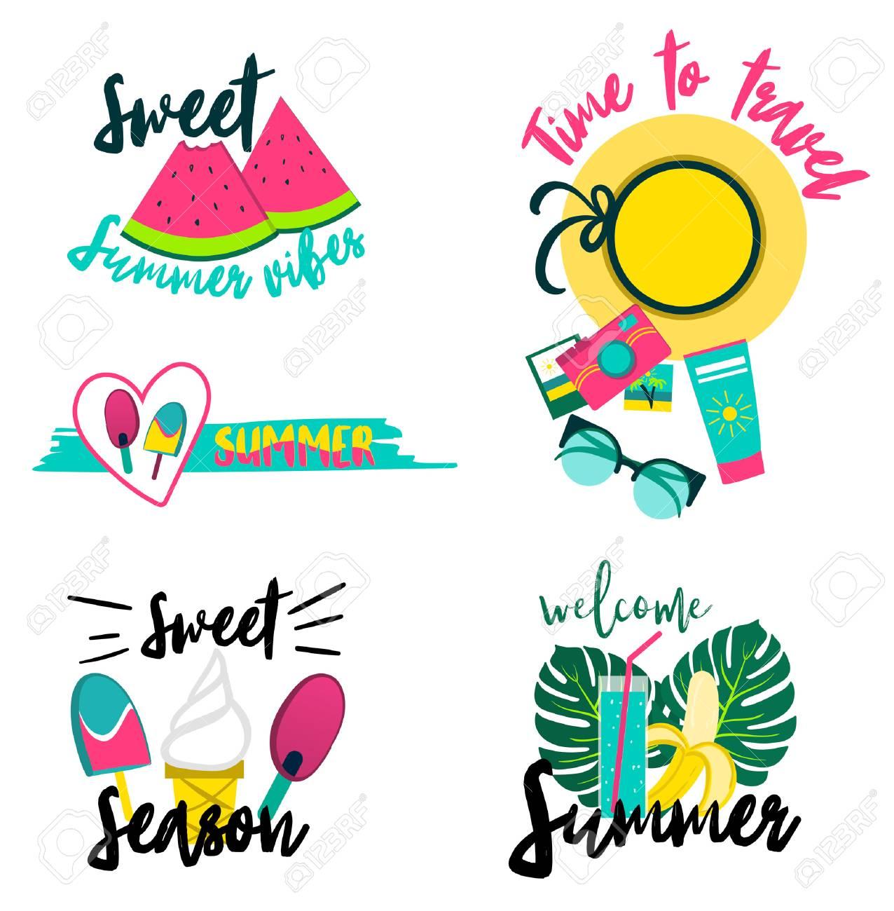 Conjunto De Parches De Verano Pegatinas Insignias Fresa Hoja De Palma Jugo Cóctel Gafas De Sol Helados Donuts Café Frases Dulces Y Sandía