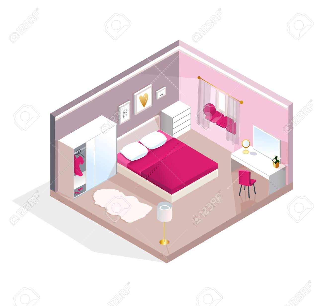 Interior isometric view for Young Women or teen girl. Modern..