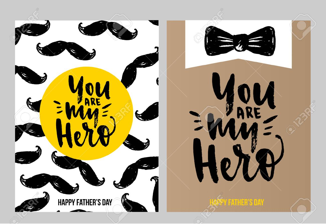 Happy Fathers Day Cards And Labels Set You Are My Hero I Love