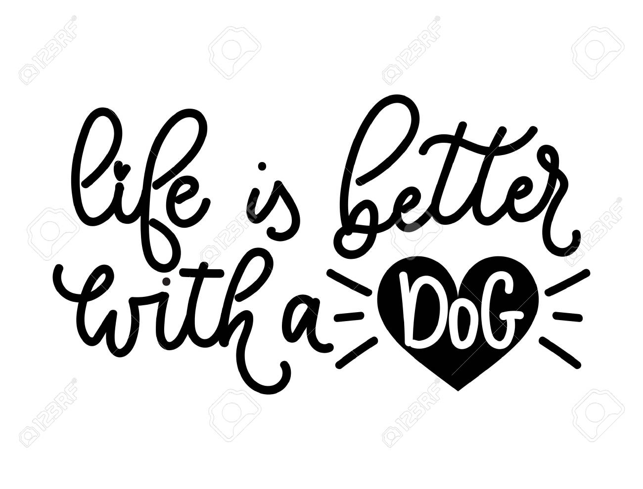 c9eb3258ce Adopt a pet lettering quote. Life is better with a dog. Hand drawn  inspirational
