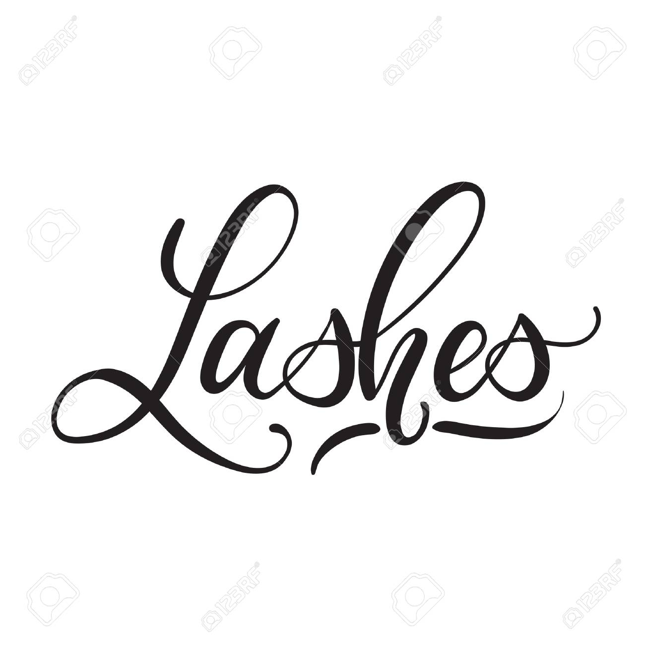 Lashes lettering logo design  Vector hand drawn lettering  Calligraphy