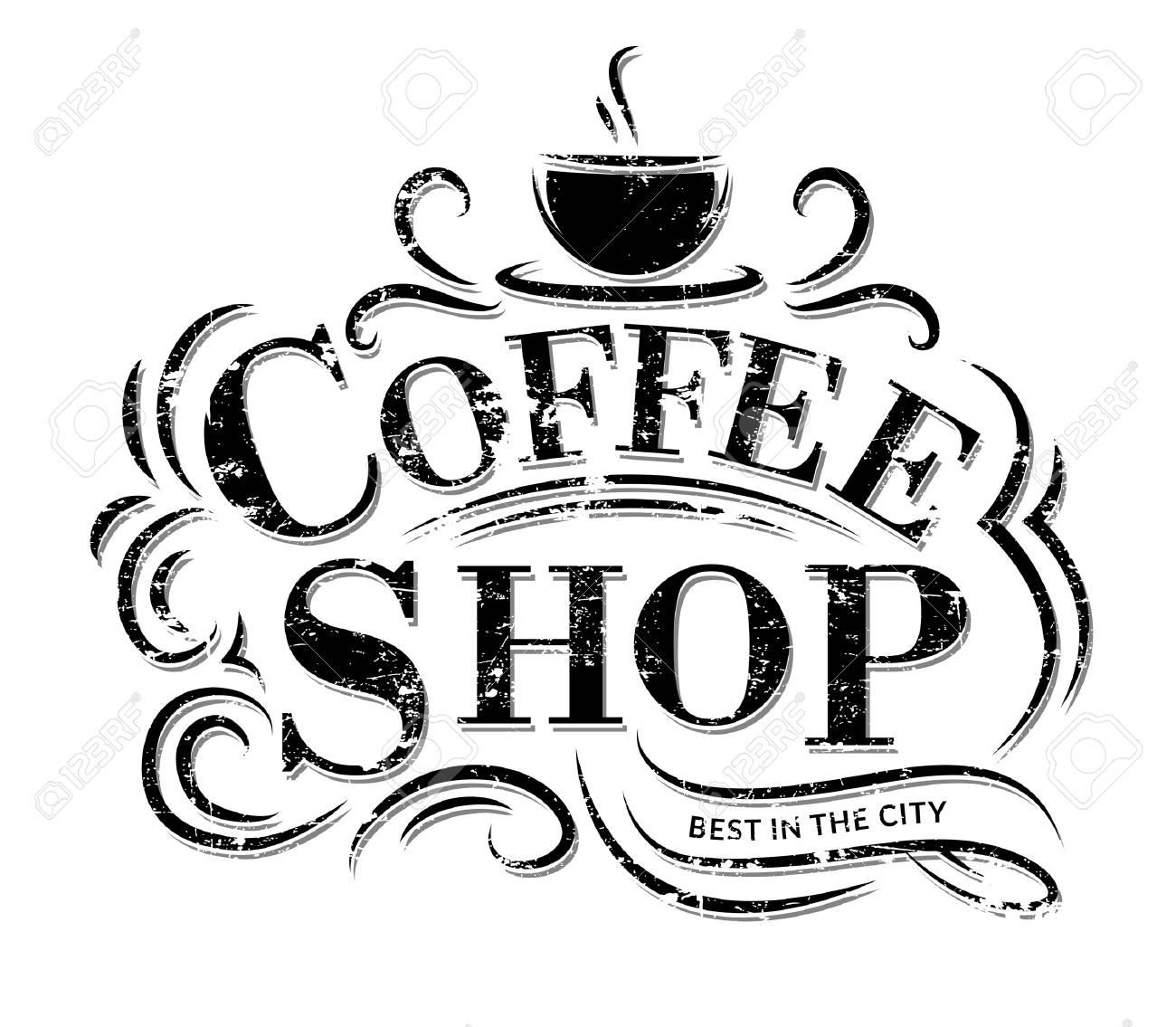 Logotipo Retro Cafe Vintage Con Letras Etiqueta De Cafeteria Con