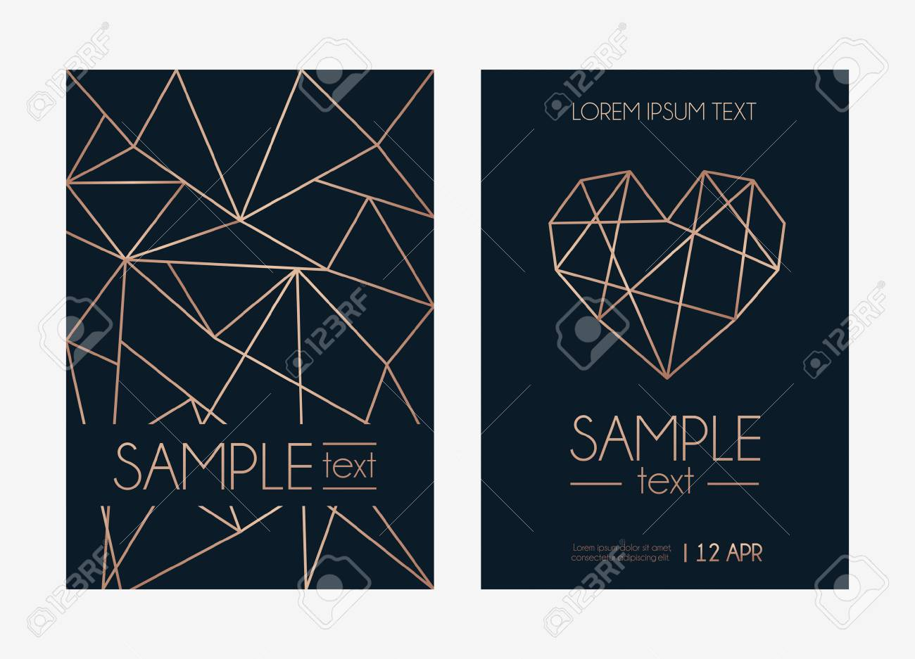 Geometric Rose Gold Design Template Modern Design For Wedding