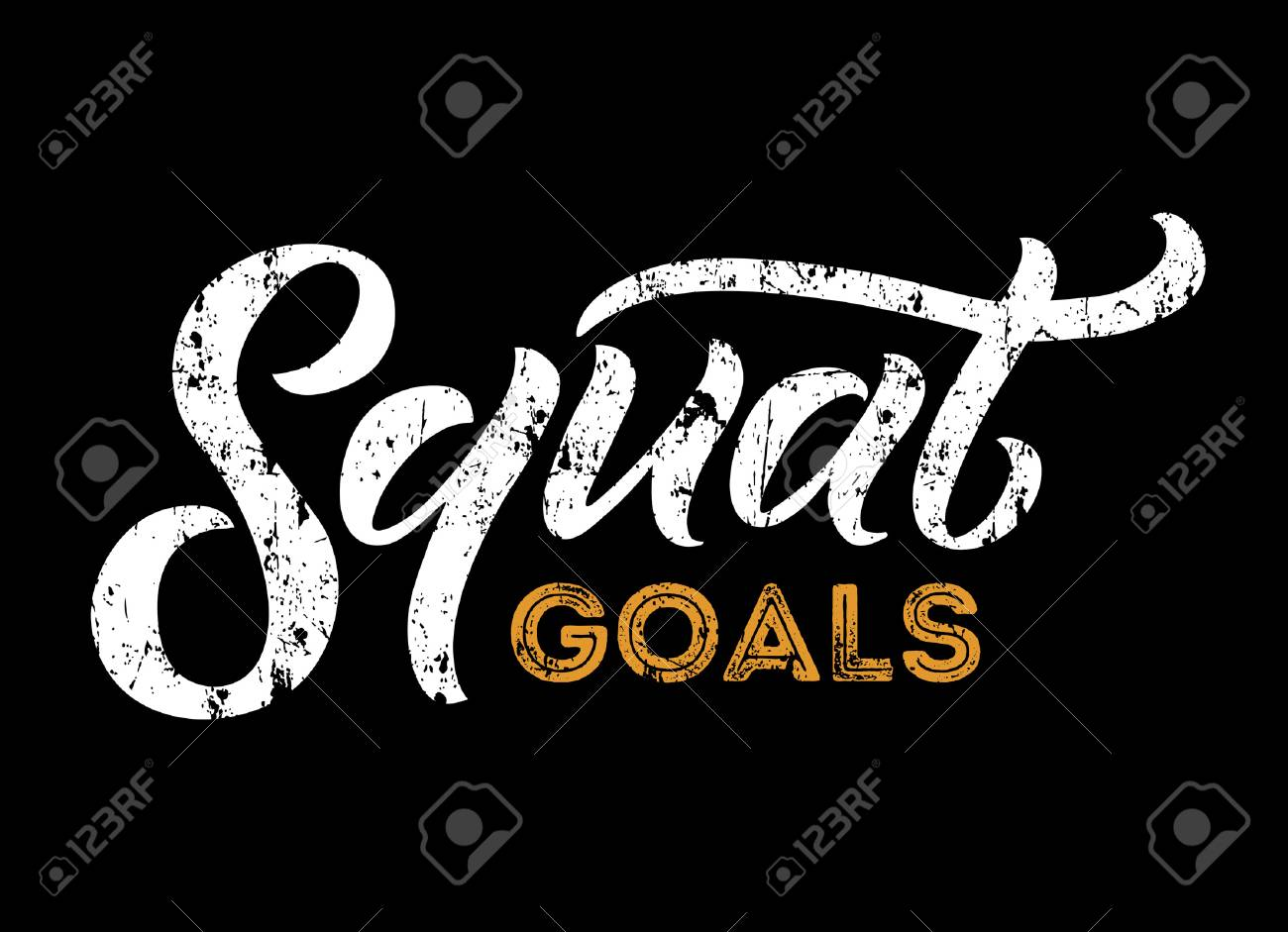 Squat Goals Motivational Quote Gym Print With Grunge Effect Workout Inspirational Poster