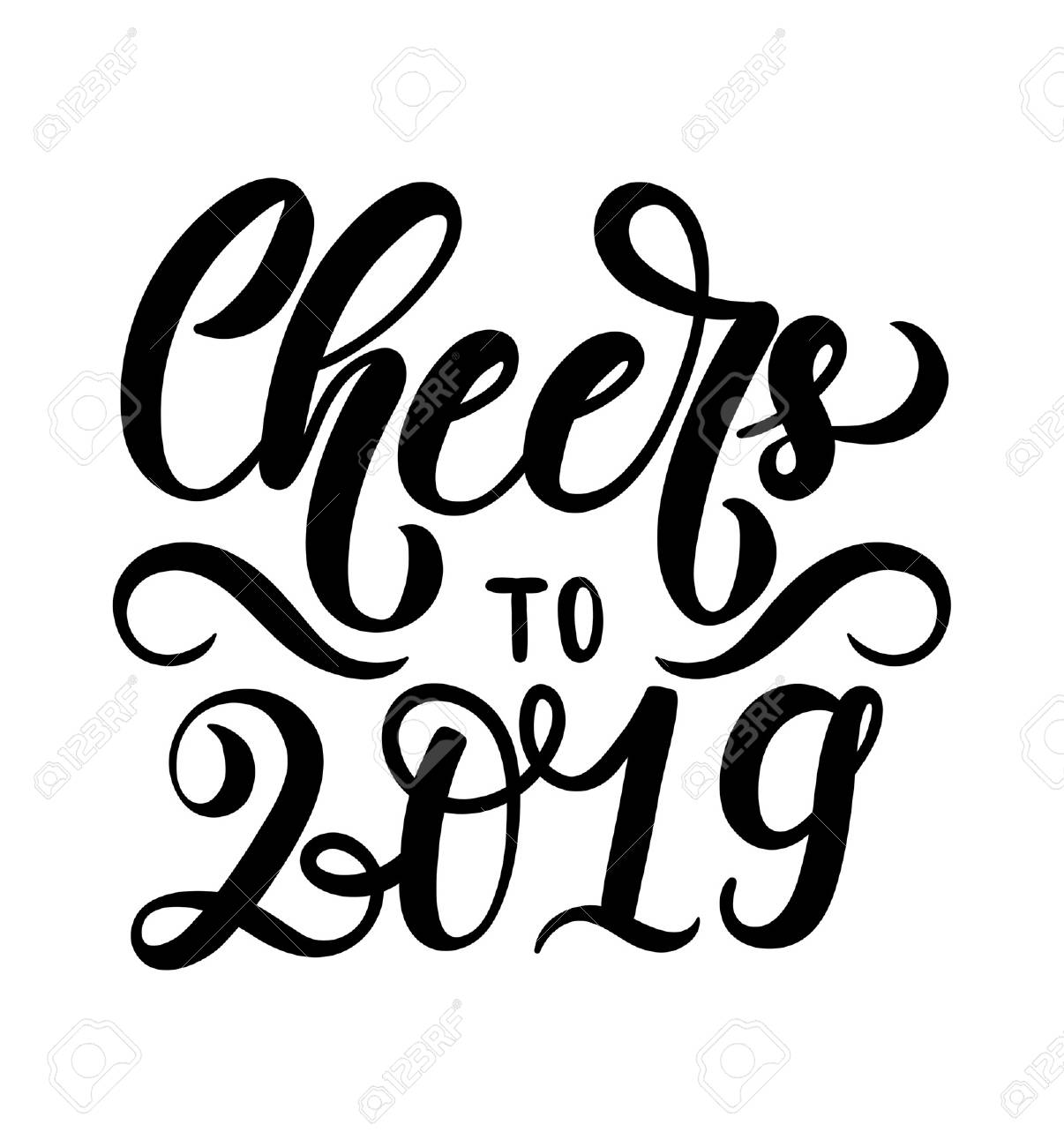 cheers to 2019 lettering inscription hand drawn new year inspirational lettering card christmas print