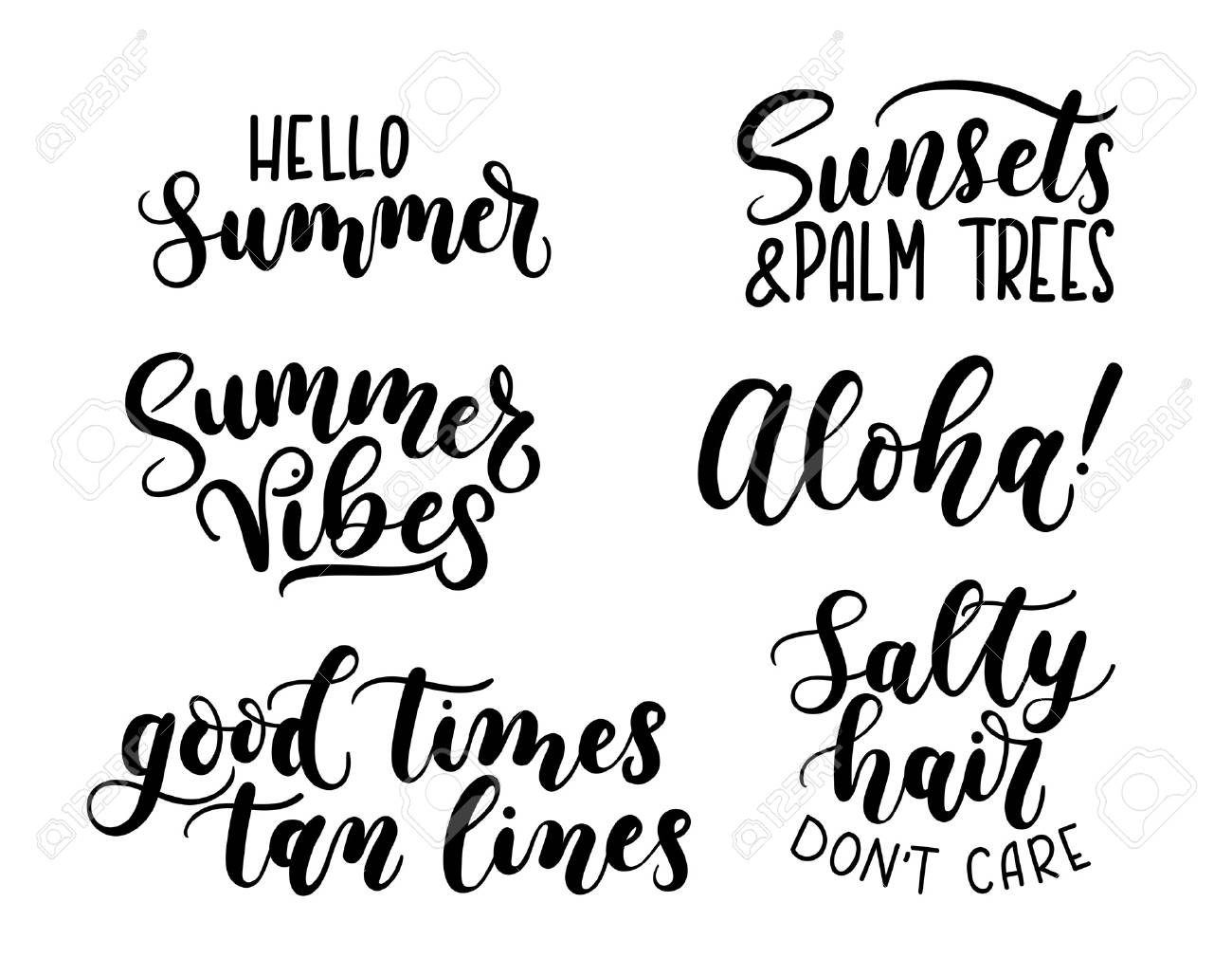 Summer Calligraphy Setbig Set Of Summer Quotes Isolated On White