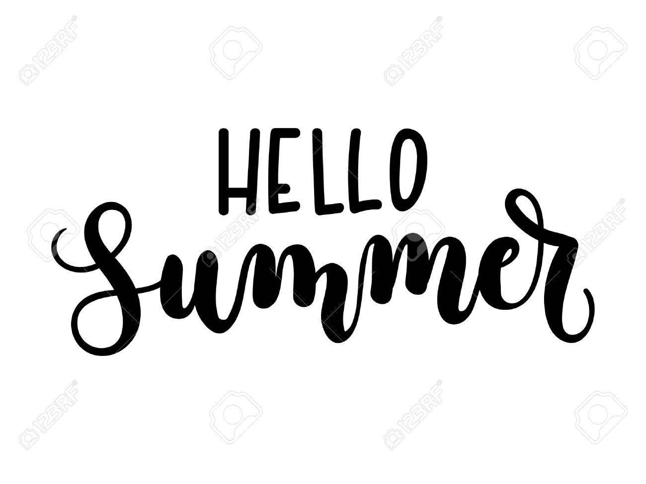 Hello Summer Lettering Card Isolated On White Background. Inspirational  Summer Calligraphy. Vector Illustration.