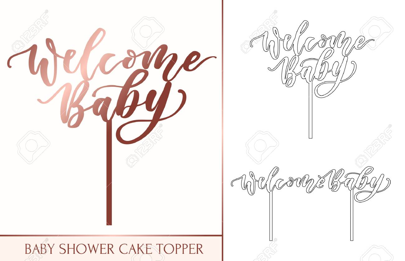 Baby Shower Cake Topper For Laser Or Milling Cut Welcome