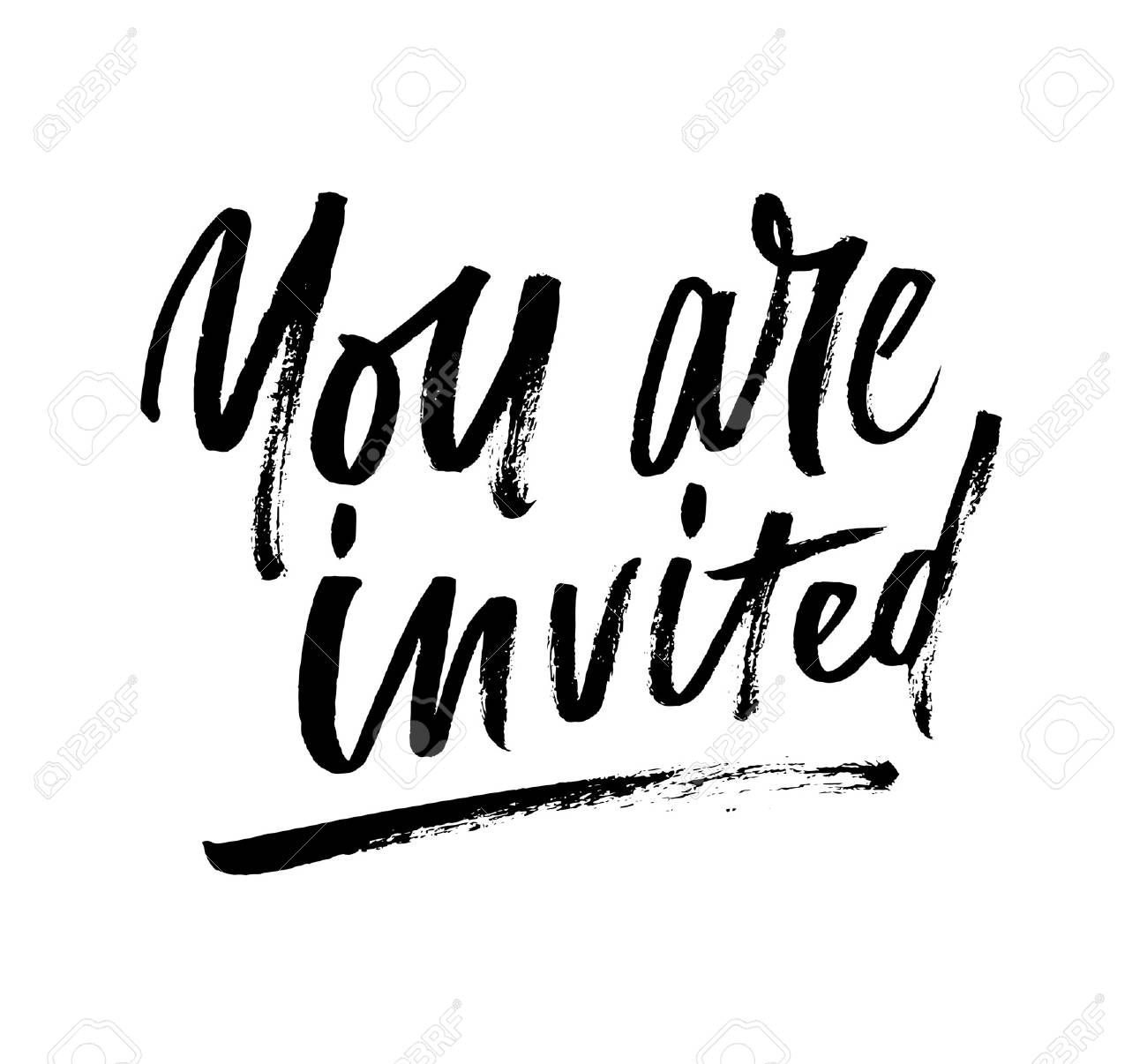You Are Invited Brush Lettering Invitation. Modern Calligraphy ...