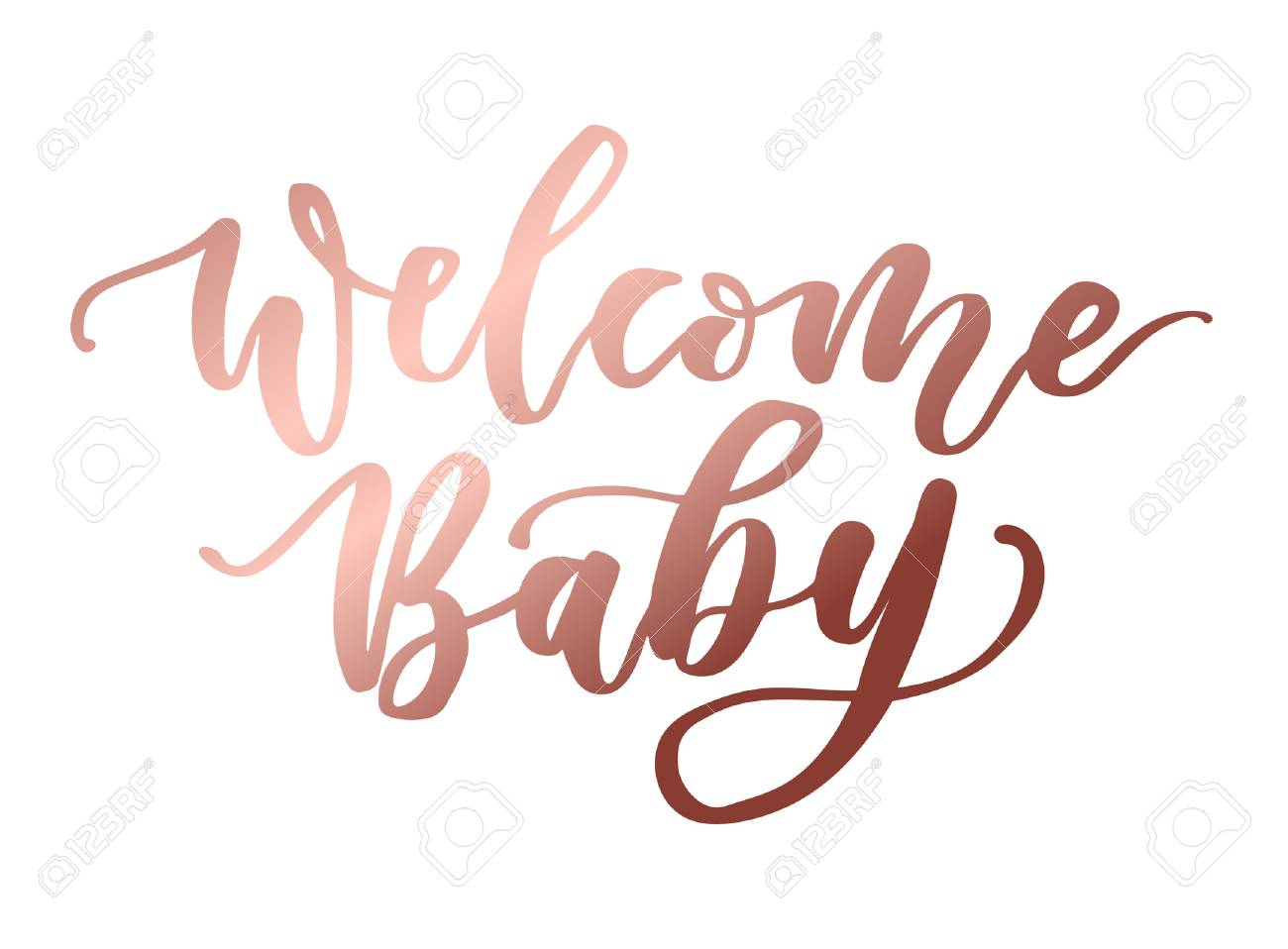welcome baby rose gold lettering inscription baby shower cute