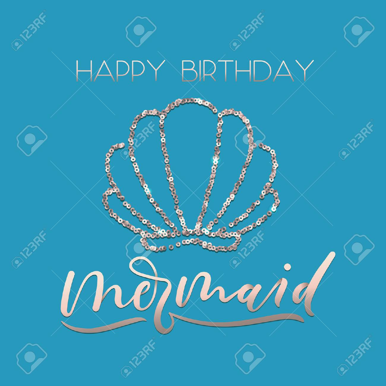 Happy Birthday Mermaid Greeting Card Set With Sparkle Rose Gold Seashell And Lettering Scale