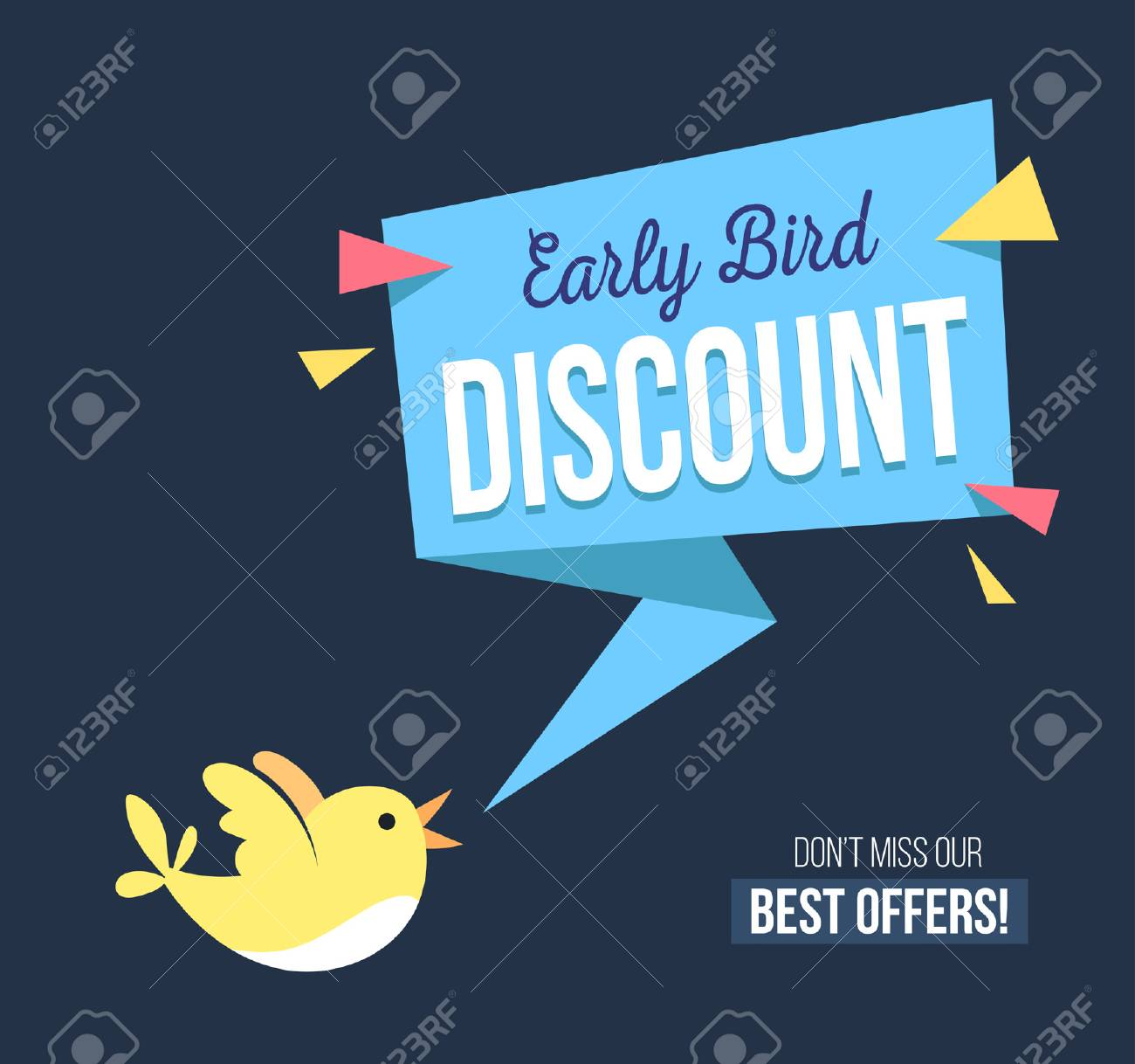 Early bird discount banner with cute bird and geomethic shapes. Promotional design template on blue background with doodles. Vector illustration - 101211942