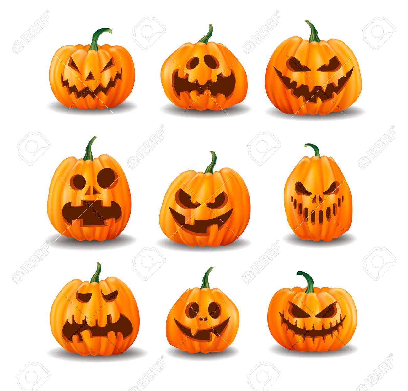 Set of realistic Halloween pumpkins isolated on white background. Vector illustration. - 131651355