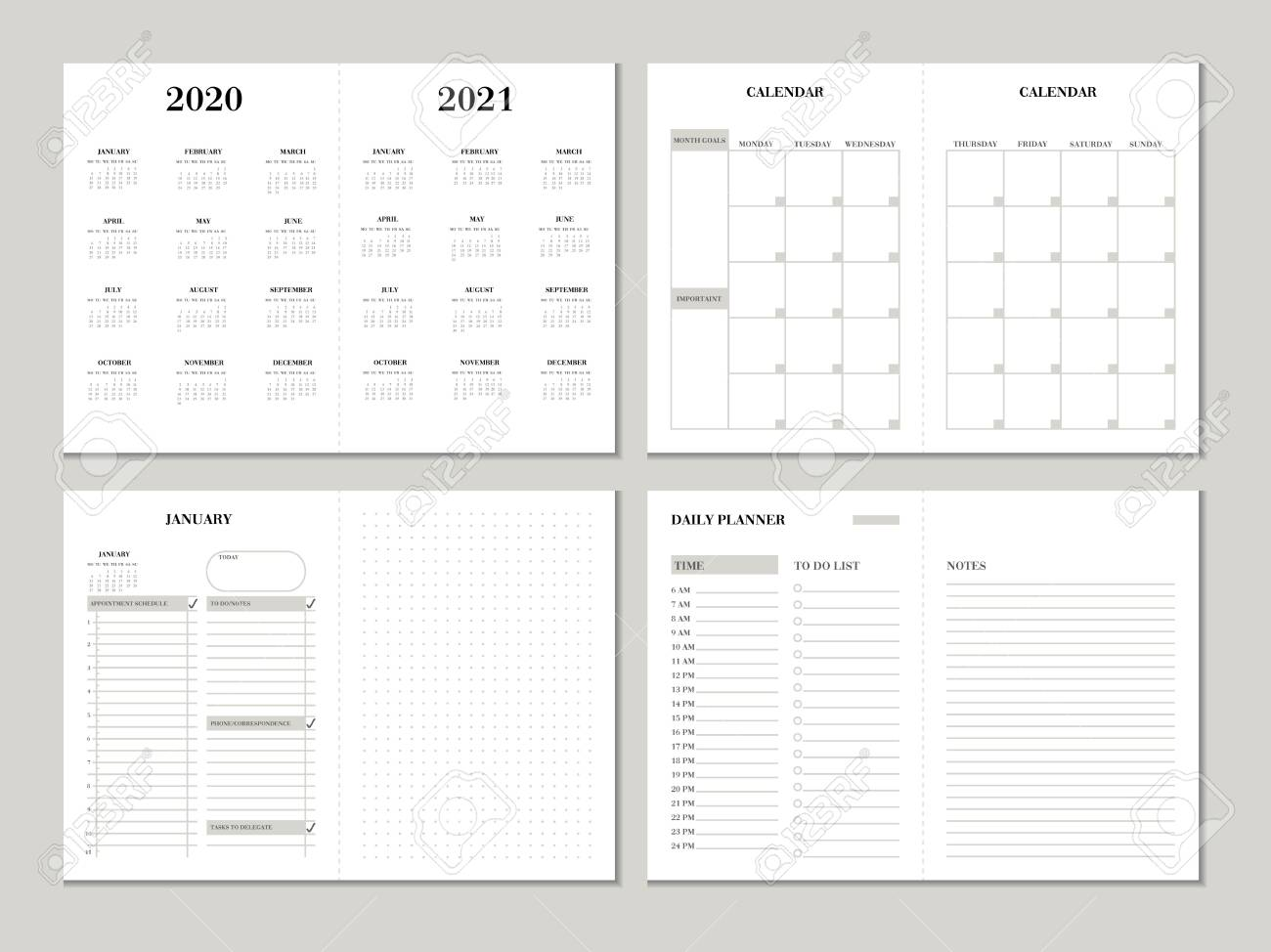 Printable Weekly Planner 2020.Planner Design Template For 2020 2021 Year Weekly And Monthly