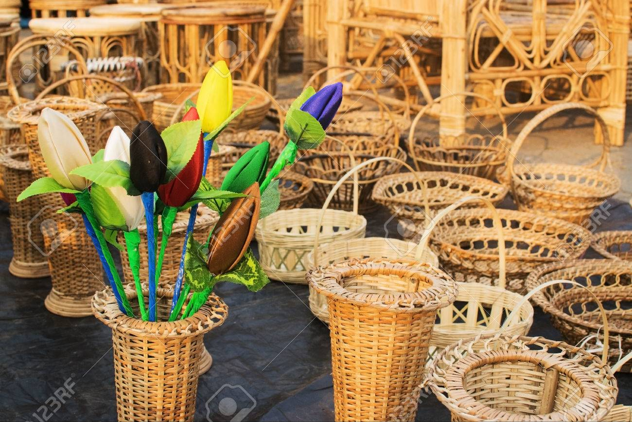 Great Cloth Made Tulip Flower Buds And Cane Furniture Handicrafts On Display  Stock Photo   34249651